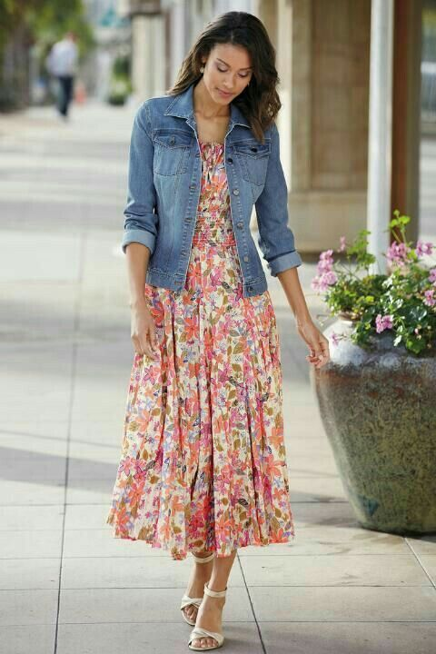 Pin By Bamisha On Frock Designs Denim Jacket With Dress Fashion Fashion Dresses Casual