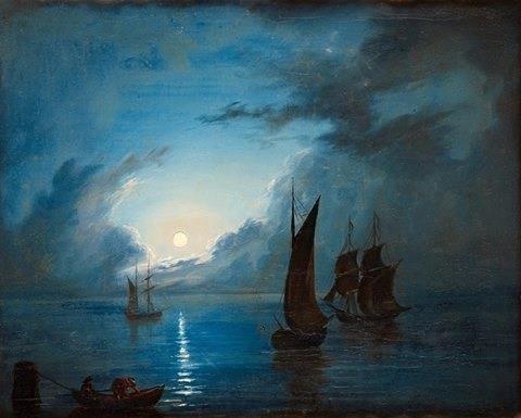 Mar en la luz de la luna (1848) Marcus Larson, artista sueco.