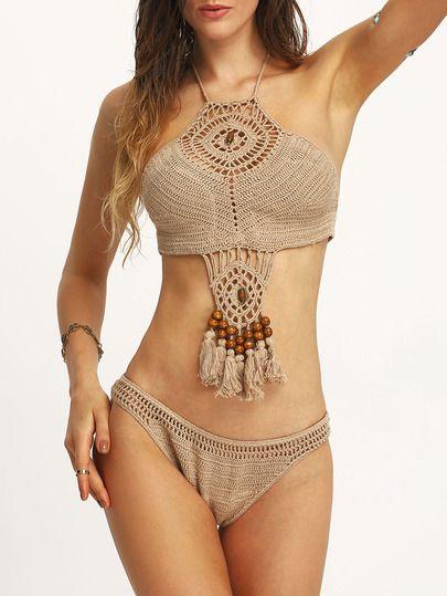 Bikini abalorio flecos crochet -kaki-Spanish SheIn(Sheinside):