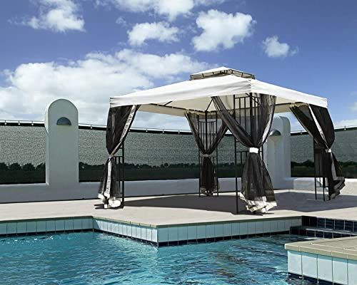 New Grand Patio 10x10 Feet Patio Gazebo Straight Leg Outdoor Canopy Mosquito Netting Sturdy Corner Shelves Tent Backyard Party Event Beige Online Shopping Outdoor Wicker Furniture Canopy Outdoor Patio
