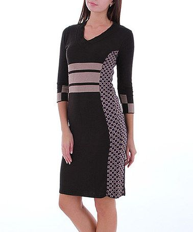 Take a look at this Brown V-Neck Knit Dress by Merdor on #zulily today!