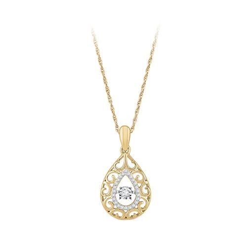 1 10 Ct Tw Lovebeat Diamond Pendant In 10k Yellow Gold Diamond Pendant Diamond Jewelry Designs Womens Jewelry Necklace