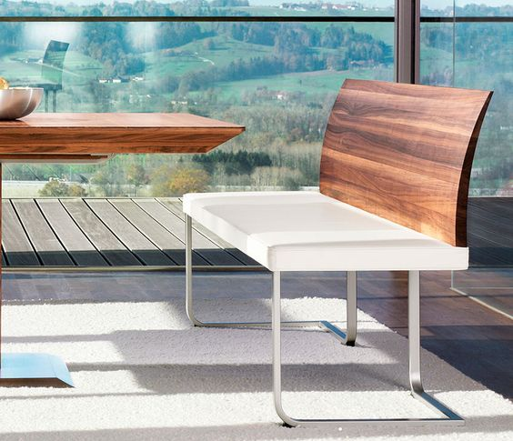 Luxury modern dining bench in walnut, steel and white leather