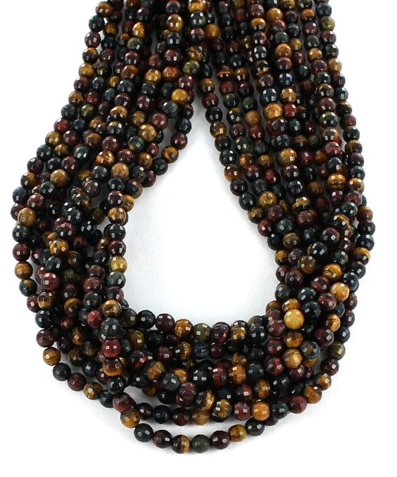 FACETED MULTI COLOR TIGEREYE BEADS 6mm from New World Gems