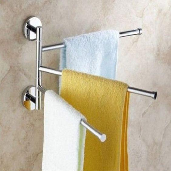 3-Arm Aluminium Towel Rack Wall Mounted Bathroom Swivel Bars Hanger