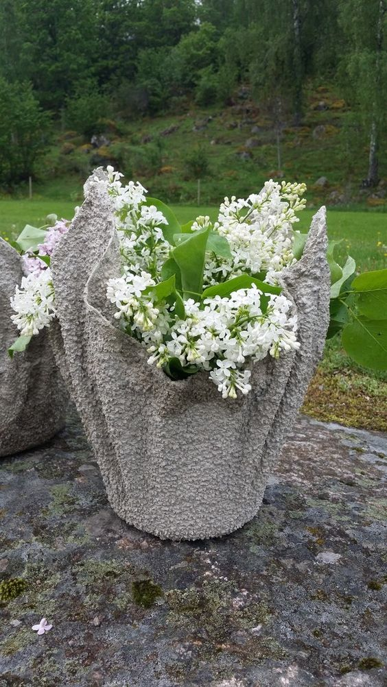 Draped concrete planter (use color in the concrete when mixing for different effect)