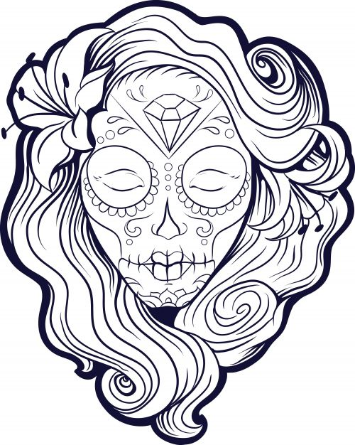 sugar skull coloring pages printable - photo#34