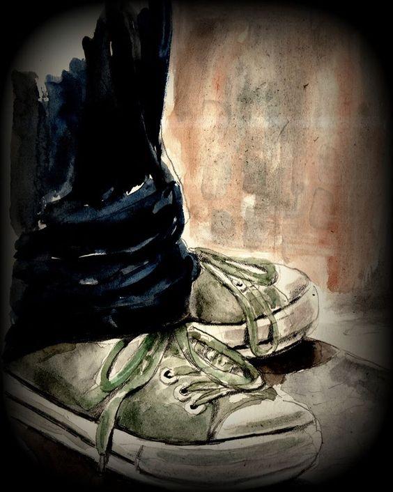 """""""Ultima volta"""".  La palestra è sempre la stessa, lui ormai non ha neppure bisogno di ricordare come sono fatte le docce, gli spogliatoi, gli armadietti; anzi, là dentro potrebbe quasi girare dappertutto senza guardare, anche con gli occhi bendati. Da anni ogni giorno un pomeriggio intero di allenamenti, i pesi, il sacco, la panca, insomma i medesimi esercizi di sempre..... (di Bruno Magnolfi - Acquerello di Giulia Tesoro)."""