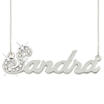 Sterling Silver Sparkling Swarovski Name Necklace.  #necklase #jewelry #monograms 9thelm.com