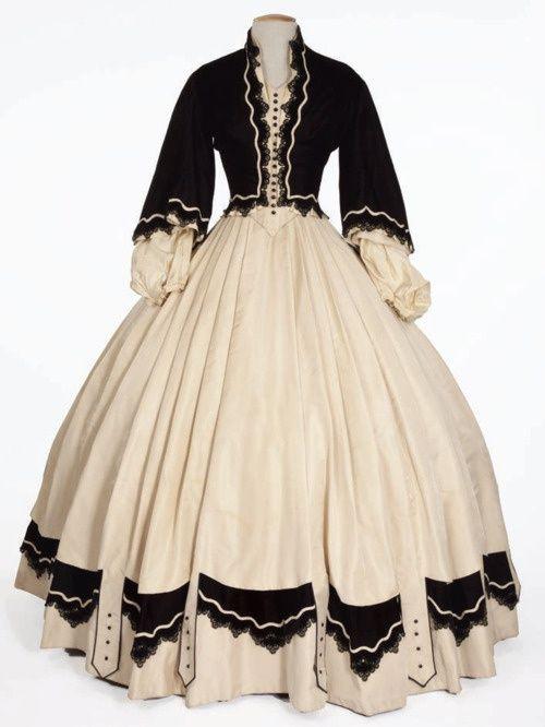 Black and white Victorian era dress ensemble historic-images-dresses-accessories: