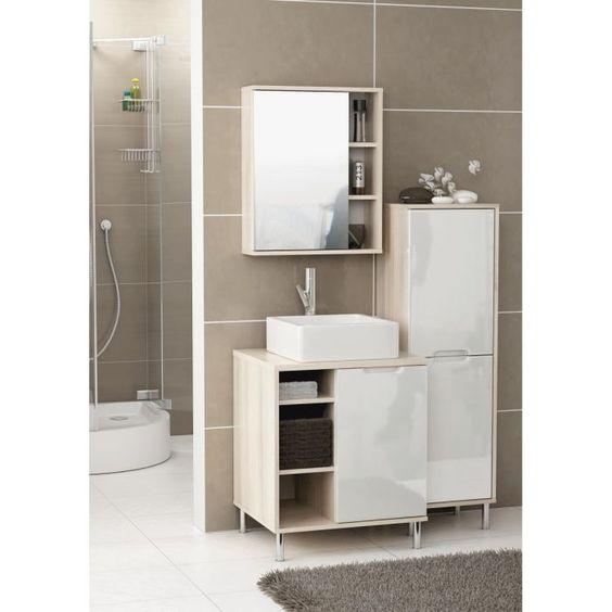 vasque meuble meuble haut sous vasque miroir rosas maison salle salle de bain finition chrome haut avec bains blanche - Salle De Bain Blanche Et Taupe