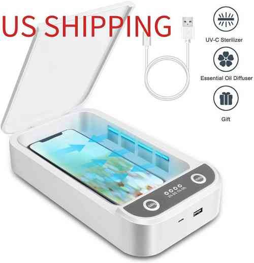 Portable UV Light Cell Phone Sterilizer Phone Uv Sanitizer White Aromatherapy Function Mask Disinfector Cell Phone Cleaners UV Light Sanitzier Box