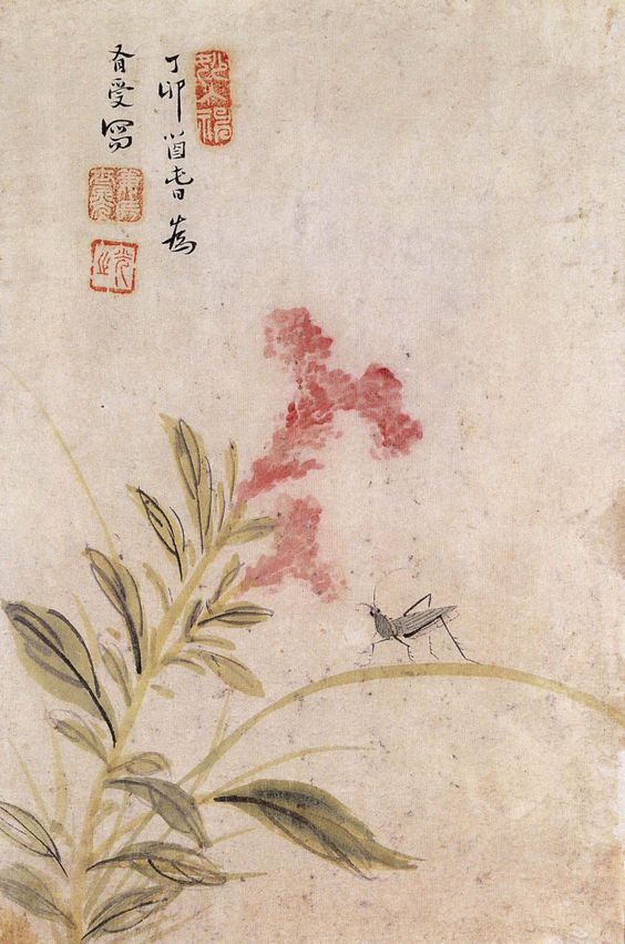 (Korea) 맨드라미와 여치 by Pyoam Gang Se-hwang (1713- 1791). color on paper. National Museum of Korea.
