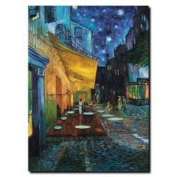 @Overstock - Artist: Vincent Van GoghTitle: DunCafe Terrace Product Type: Gallery-wrapped  Canvas Arthttp://www.overstock.com/Home-Garden/Van-Gogh-Cafe-Terrace-Canvas-Art/5963176/product.html?CID=214117 $28.49