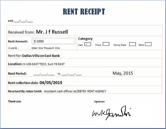 Real Estate Brokerage Bill Receipt Format word u2013 Microsoft Excel - cash slip template