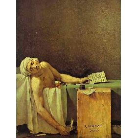 The Death of Marat, by Jacques Louis David.  The defining image of the French Revolution, and what followed... the hopes and dreams of mankind.  Such a powerful piece in its stark simplicity.