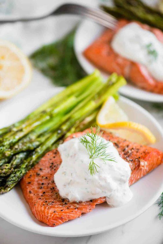 Air Fryer Salmon and Asparagus