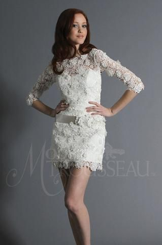 """Modern Trousseau Daphne is a short, Italian 3-dimensional guipure lace gown with """"Sabrina"""" neckline. It features three-quarter lace sleeves and a matching belt. This gown came from a designer bridal boutique and is in excellent condition. Modern Trousseau Daphne is Off White and a size 10."""
