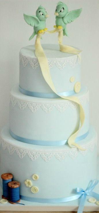 Modern Cinderella Bluebird Wedding Cake