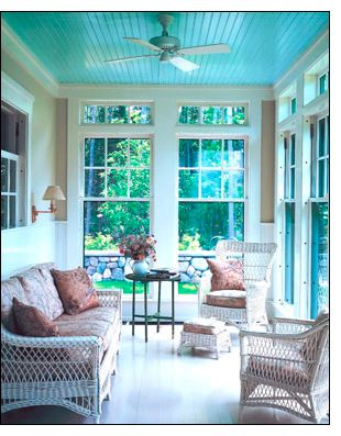 porch with turquoise ceiling <3