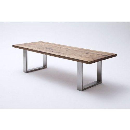Esstisch aus massiv Eiche, Tisch mit einem Gestell aus Metall - moderner esstisch holz stahl