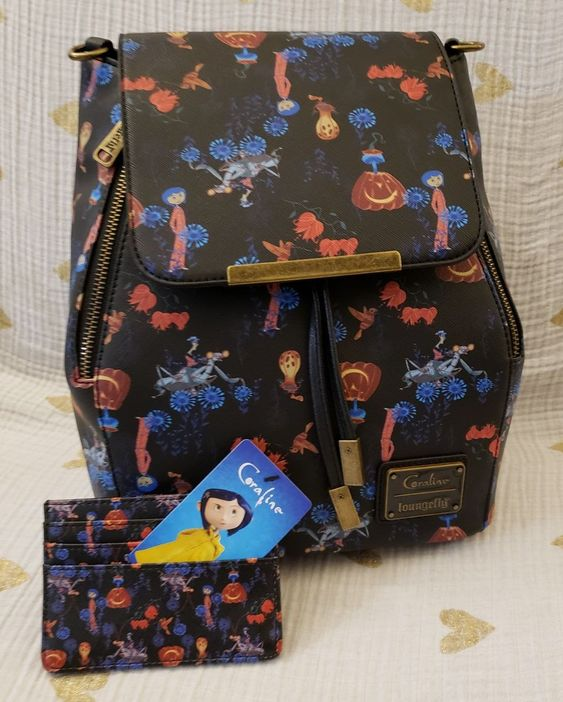 Loungefly Coraline Convertible Backpack And Cardholder This Backpack Will Hold All Your Knickknacks In The Main Compartm Coraline Backpacks Coraline Aesthetic