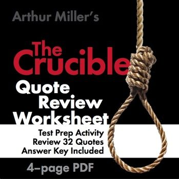 Crucible Arthur Miller Quote Race Review Great End Of Unit Game Test Prep Activitie Activities The Theater Essay Pdf