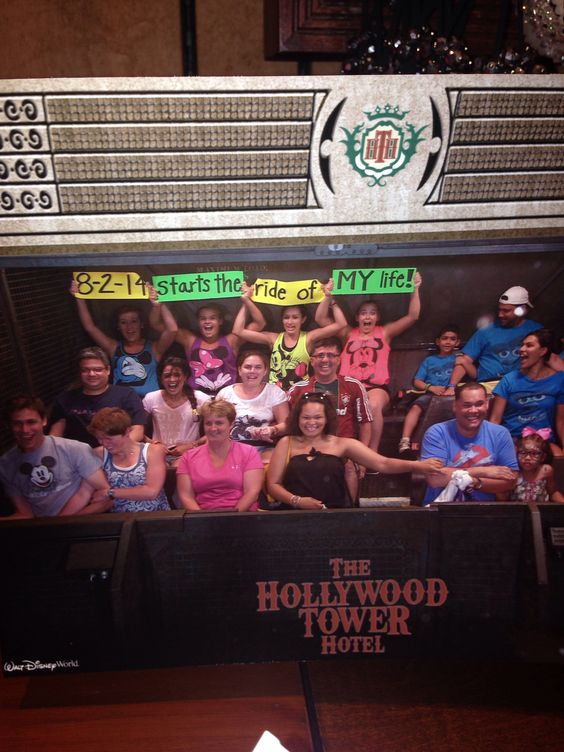 Bachelorette party in Disney World. On the Tower of Terror ride. 8-2-14 starts the ride of MY life!