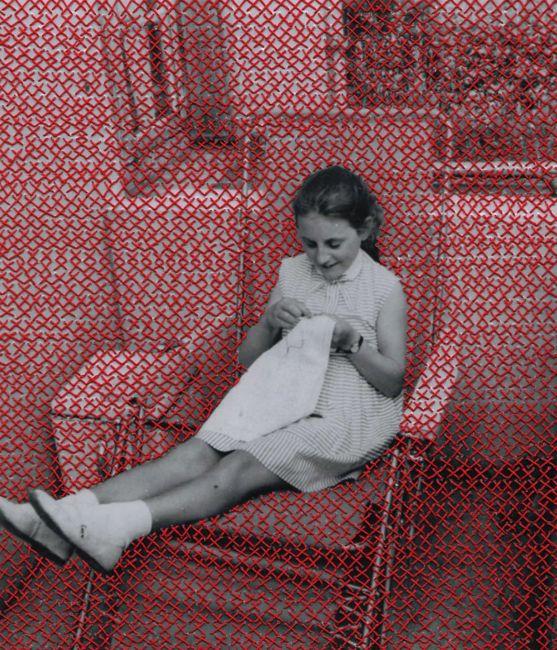 Flore Gardner Chiasmus, 2012 embroidered found photograph 9 x 8 inches: