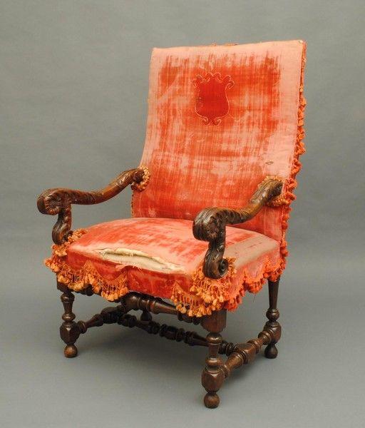 Flemish walnut armchair 1720 Belgium.