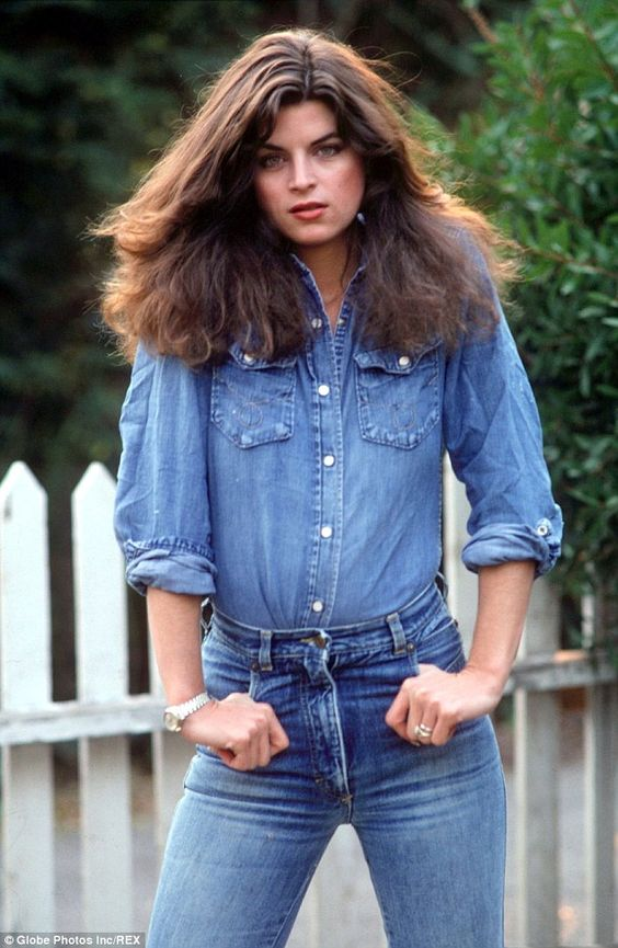 Natural beauty: In a 1991 modeling shot, Kirstie Alley displayed her slim physique in a double d...