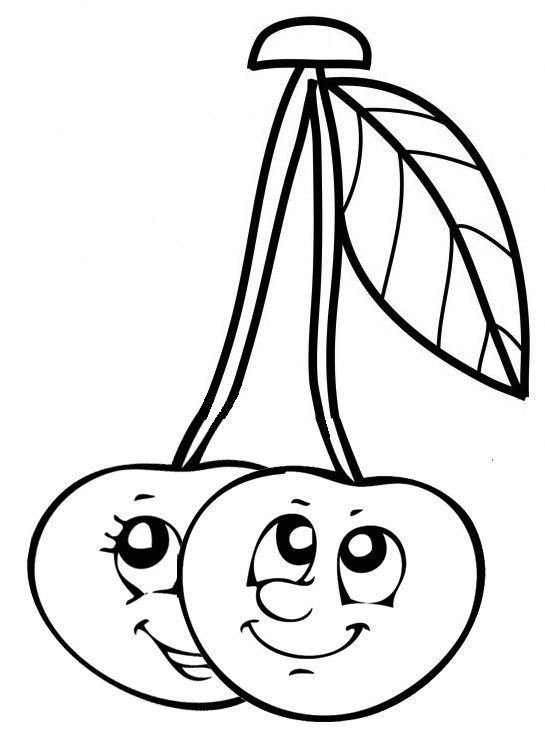 Cute Cherries Cartoon Coloring Page