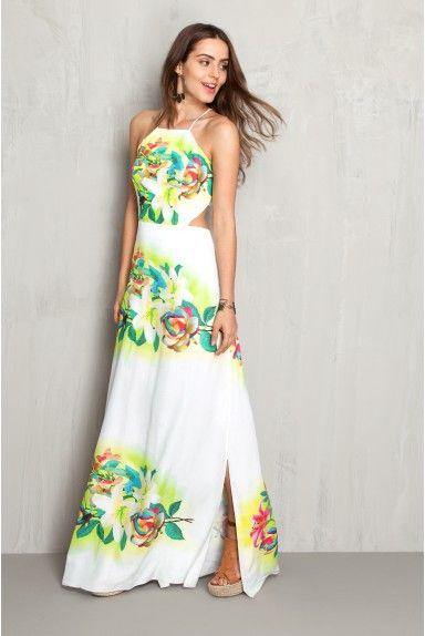 Vestido longo estampado floral localizado: