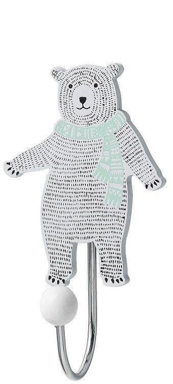 <p>Wat een snoesje, dit haakje beer van Bloomingville mini. In wit en mint met zwarte accenten. Makkelijk en mooi op de baby- of kinderkamer.</p> <p>De beer is van hout, het haakje van ijzer. Het haakje is 11 cm hoog, 6 cm breed en 4.4 cm diep.<br />Aan de achterkant zit een ophangplaatje waarmee je het haakje makkelijk aan een schroef hangt.<br /><br /><br /></p>