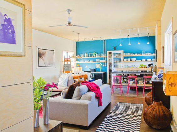 blue wall + open plan + loft