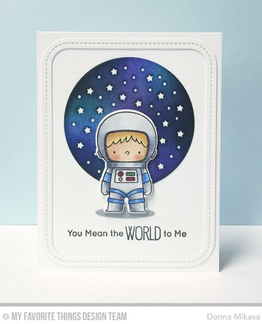 Space Explorer Stamp Set and Die-namics, Single Stitch Line Rounded Rectangle Frames Die-namics, Starry Circle Die-namics, Oval Shadows Die-namics - Donna Mikasa  #mftstamps
