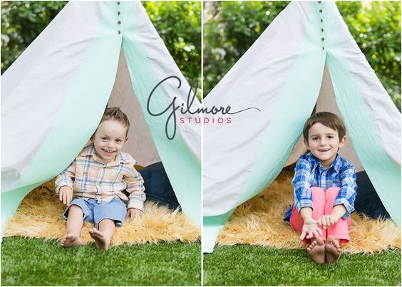 Teepee Mini Sessions! Newport Beach Children's Photographer, CA, Cali, California, Outdoors, Fun, Adorable, Cute, Summer, Pretty Day, Sunny, Brothers, Boys, Teepee, Mint, Grey, Blue, Tan Rug, Fuzzy Rug, Plaid Shirts, Coral Pants, Blue Shorts, Love, Siblings, Family, Laughter, Joy, Children  GilmoreStudios.com