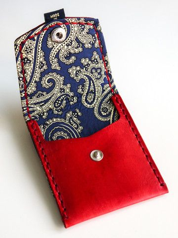 Red with Blue & Gold Paisley (Pocket Wallet)