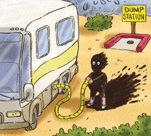 OOPS! This is a #RV tank emptying disaster. Avoid ever having to hook up another hose with the new Sani-Con Turbo! http://www.thetford.com/product/sani-con-turbo/