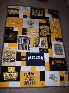 Tshirt quilt tutorials!!! I started mine (Mizzou, too, how funny!) a long time ago, but was only going to sew shirt squares together... I'm SO glad I kept my scraps, because this one looks SO much cooler!! I can't wait to get working on it! :D
