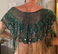 Gorgeous Gatsby Flapper Shawl Sequins & Beaded Fringe  ebay