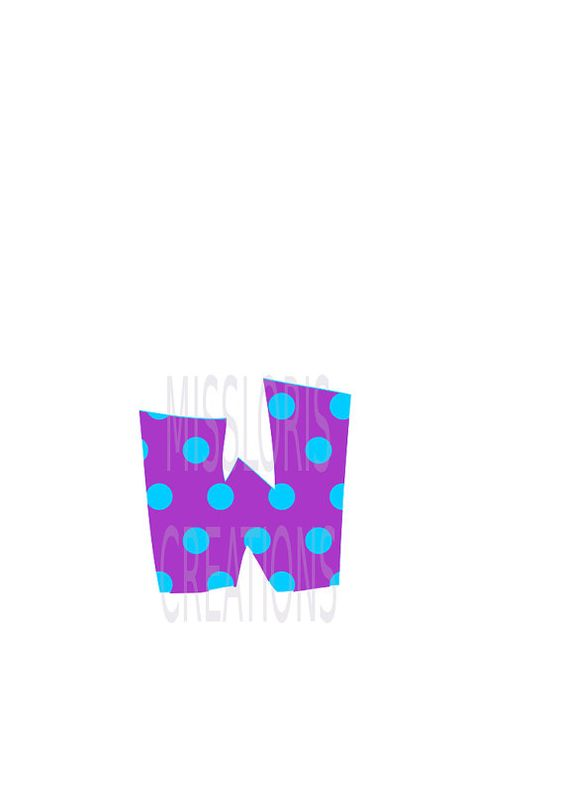 Polka dot Letter W monogram   SVG Cut file by MissLoriscreativecut