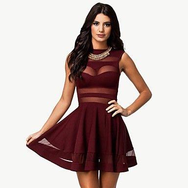 Elonbo Women's Round Collar Sleeveless Sexy Show Thin Collect Waist Style Tight Dress – EUR € 22.35