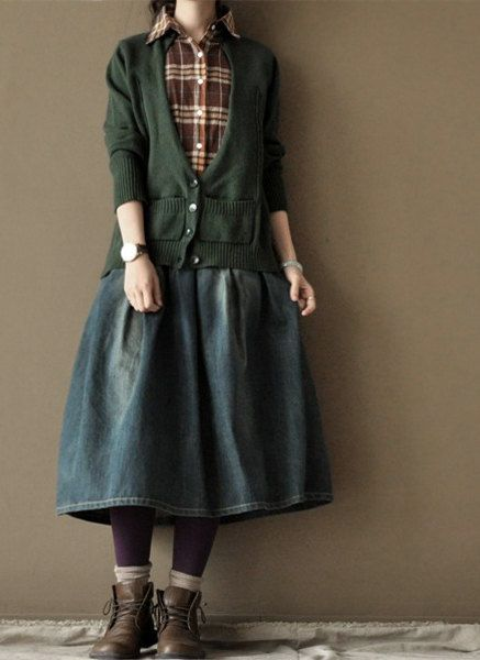 Old Blue Cowboy Soft Loose Skirts Cotton Chic от clothingshow: