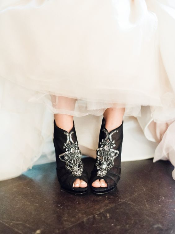 Black beaded booties: