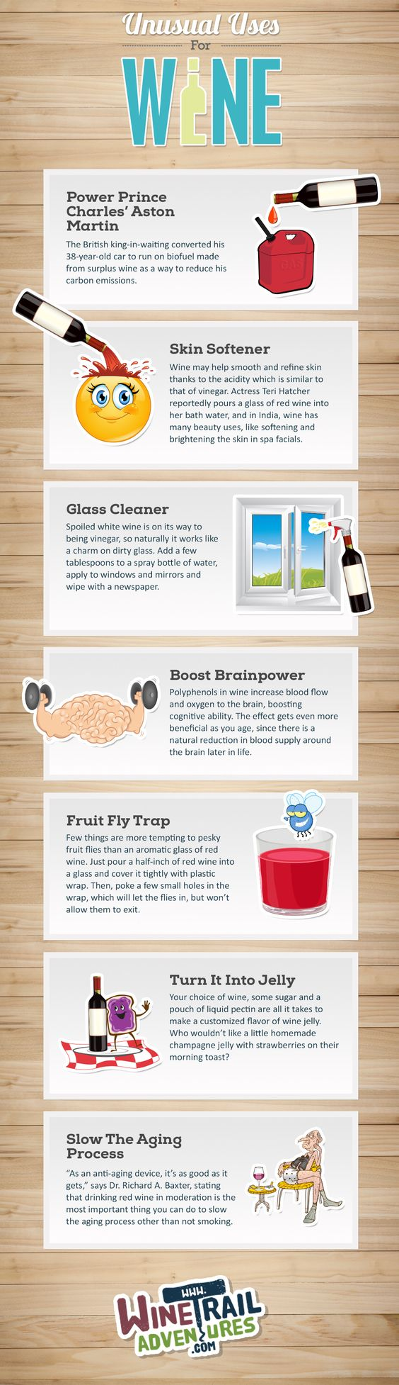 Wine Infographic - Sure wine is great to drink, but did you also know there are other uses for it?  Here are some unusual uses for wine.
