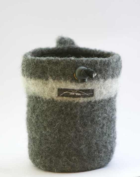 Gray on gray felted chalk bag