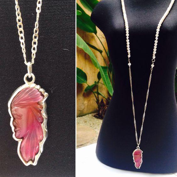 """Colar tamanho 34"""" pérola água doce e pingente exclusivo índio quartzo rosa."""