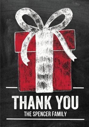 Swapping the Goods - Folded Holiday Thank You Cards in Black Chalkboard design.