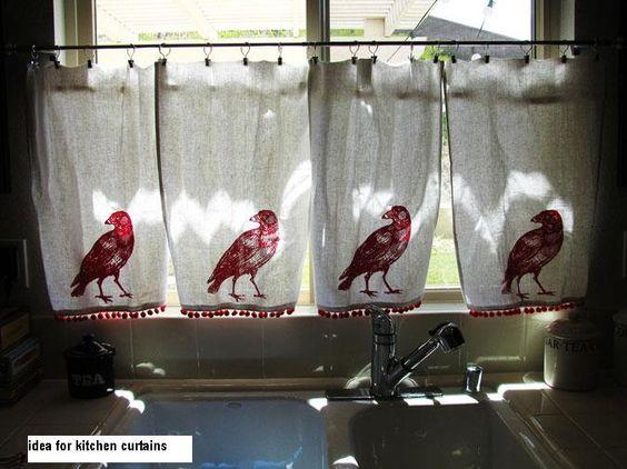 Kitchen Curtains bird kitchen curtains : I can relate to wanting red bird kitchen curtains. | Curtains ...
